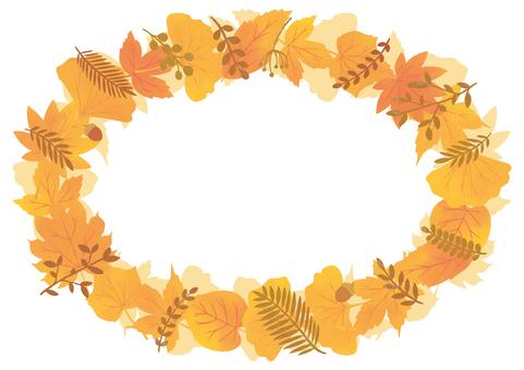 美麗的秋葉圓框