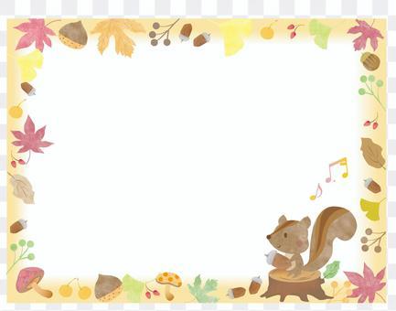 かわいい動物リス_秋のフレーム