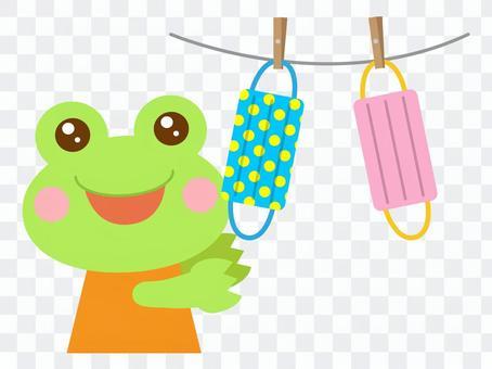 マスクを干す カエル 蛙