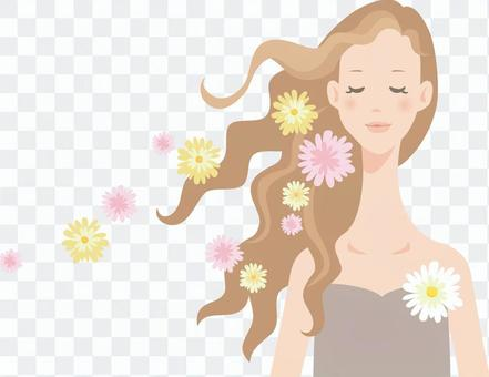 Woman_curly hair and flower decoration_02