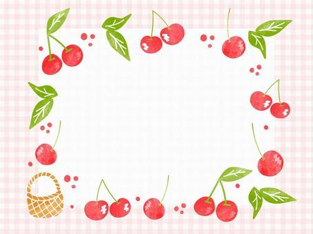 水彩風格手繪櫻桃框架