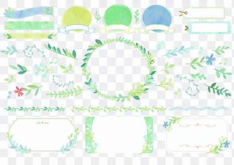 Seasonal material 081 fresh green watercolor frame
