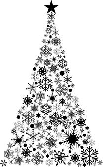 雪花聖誕樹剪影