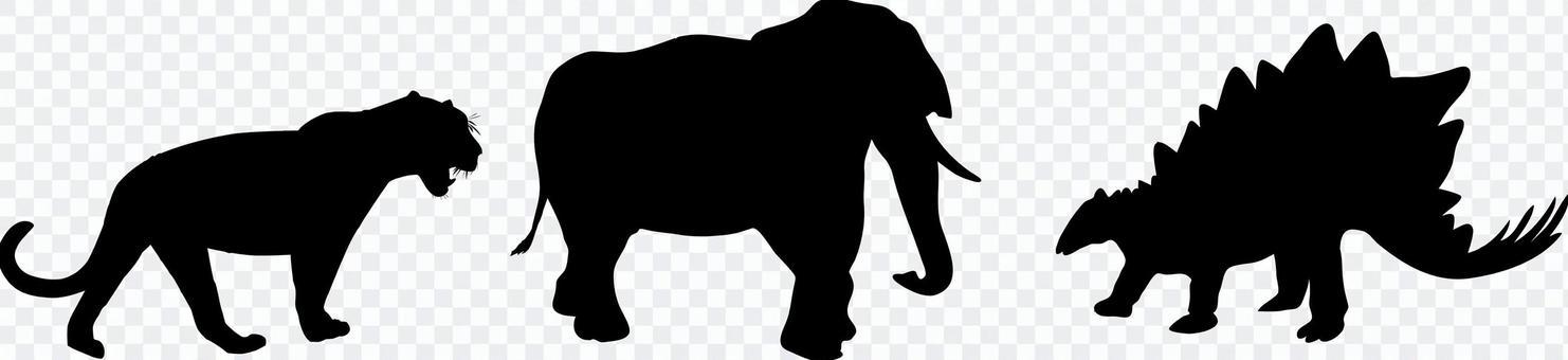 Stegosaurus elephant leopard silhouette