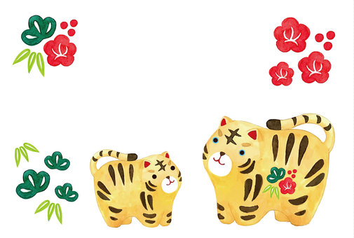 Watercolor tiger figurine parent and child New Year's card