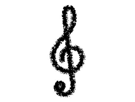 """Crayon handwritten """"treble clef"""" black"""