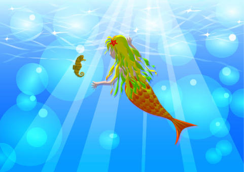 水下美人魚和海馬背景壁紙