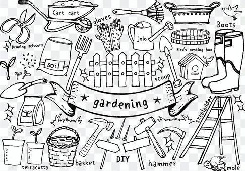 Handwritten gardening set