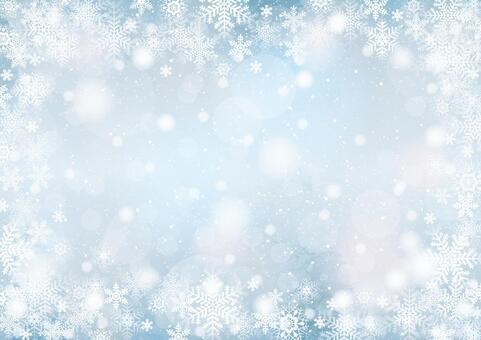 雪と雪の結晶 背景 横 ブルーグレー