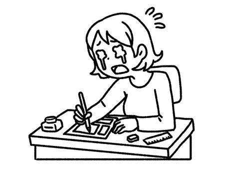 【黑白】趕不上最後期限的漫畫家【畫線】