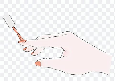 マニキュアを塗る手オレンジイラスト