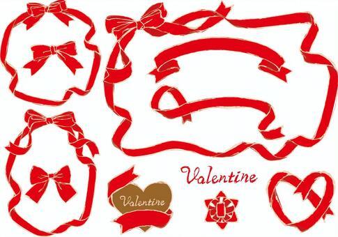 Various frames of red ribbon