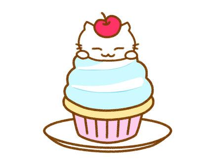 紙杯蛋糕白貓