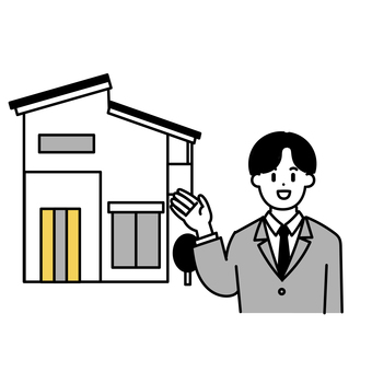 Real estate salesman and single-family home (simple)