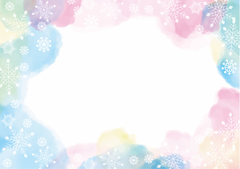 Watercolor style snow crystal background material