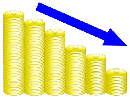 日元符號硬幣和箭頭(向下)
