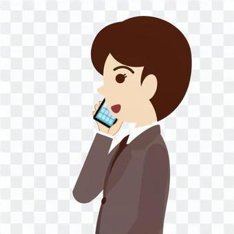 与智能手机对话的男人·商人