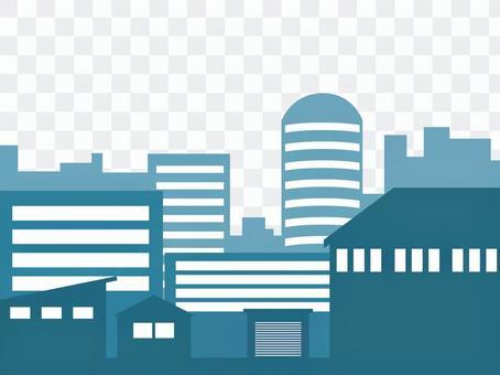 城市景觀剪影藍綠色
