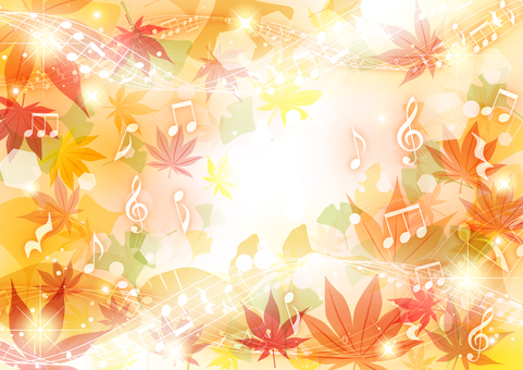 水平楓和銀杏秋葉音符背景