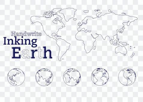 就像世界地圖,地球儀,墨水筆