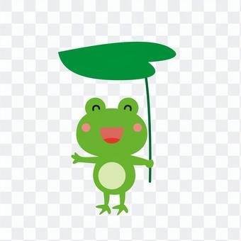 葉っぱを持つ蛙