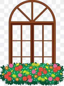 ヨーロッパ風の花を飾った窓