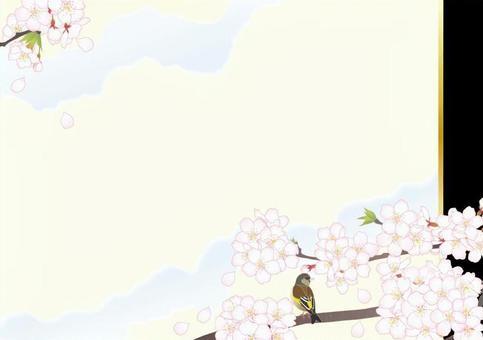 日本風格的框架_櫻花小鳥_黑色
