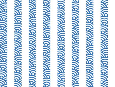 【日紋x紋】青海波浪x條紋:藍色