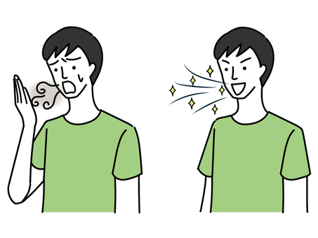 A woman suffering from bad breath and a man with a refreshing breath