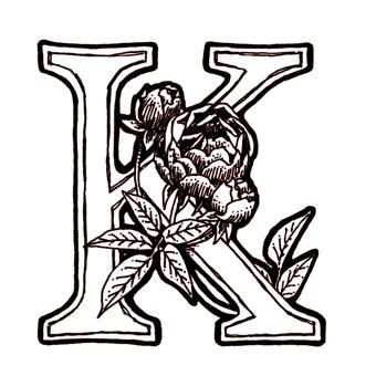 仿古筆繪圖裝飾初始K玫瑰