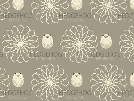 Hedgehog and chrysanthemum pattern