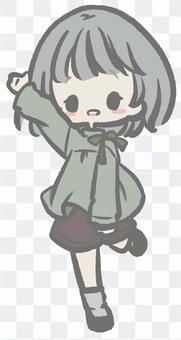 舉起一隻手的女孩
