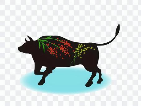 新年賀卡牛肉漆風格