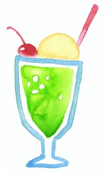甜瓜奶油蘇打水彩手繪甜點