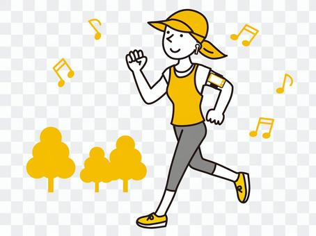 A woman jogging while listening to music