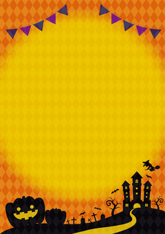Halloween silhouette orange vertical frame