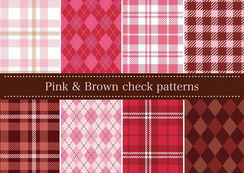 粉色和棕色格紋