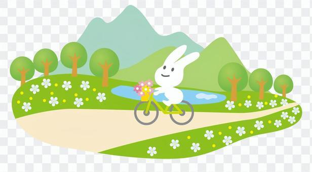 在一輛自行車上