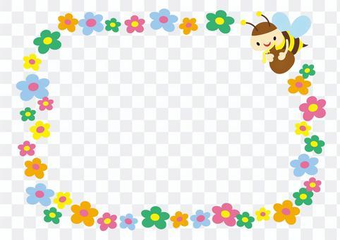 可愛的蜜蜂和花相框