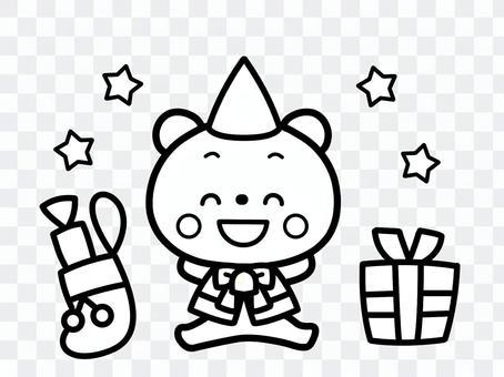 クリスマス くま 白黒