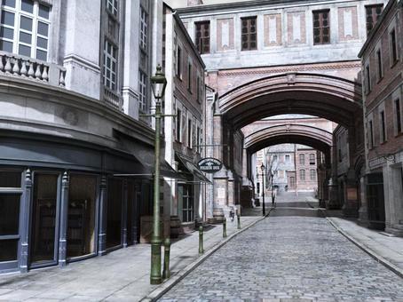 Landscape of old London streets (street)