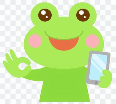 スマホを持つ カエル 蛙