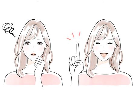 半長頭髮的女人充滿了憂慮和微笑
