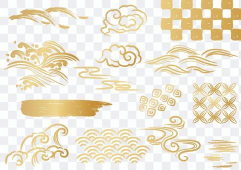 日本花紋材料034波浪部件套裝