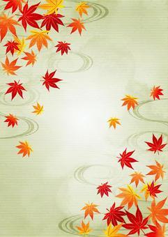 水彩風紅葉と流水のお彼岸背景タテ