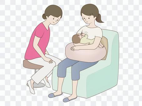 授乳中の母子と支援者 2