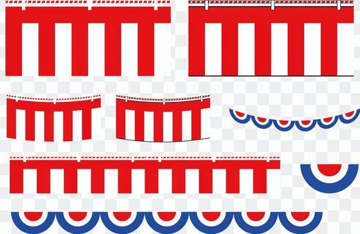 紅色和白色的窗簾等