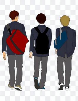 ブレザーを着た男子高校生の後ろ姿