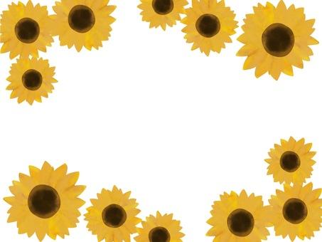 時尚水彩向日葵框架