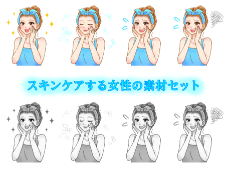 Adult woman in hair band_Illustration material set